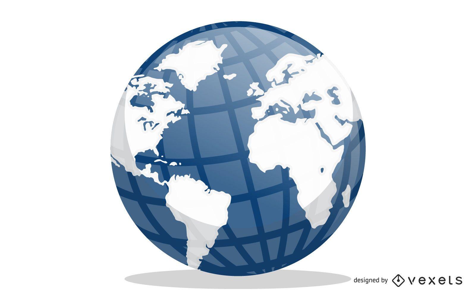 Blue Earth Globe Vector Design