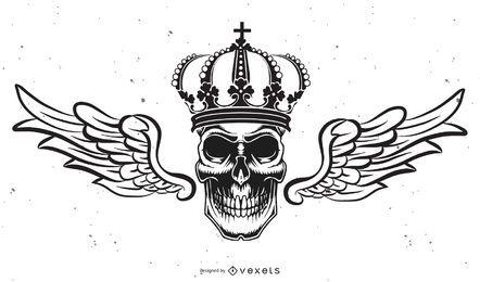 Crânio isolado com ilustração de coroa
