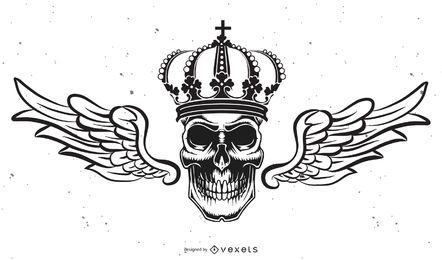 Isolated skull with crown illustration