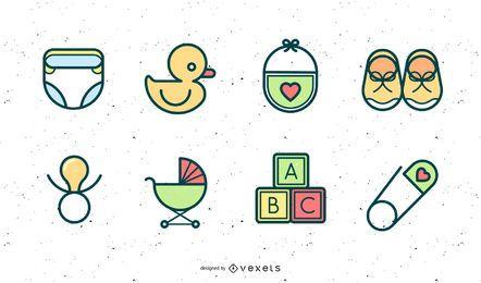 Cute Newborn Elements Vector Graphic