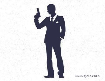 James Bond Secret Agent 007 Negro Blanco Silo