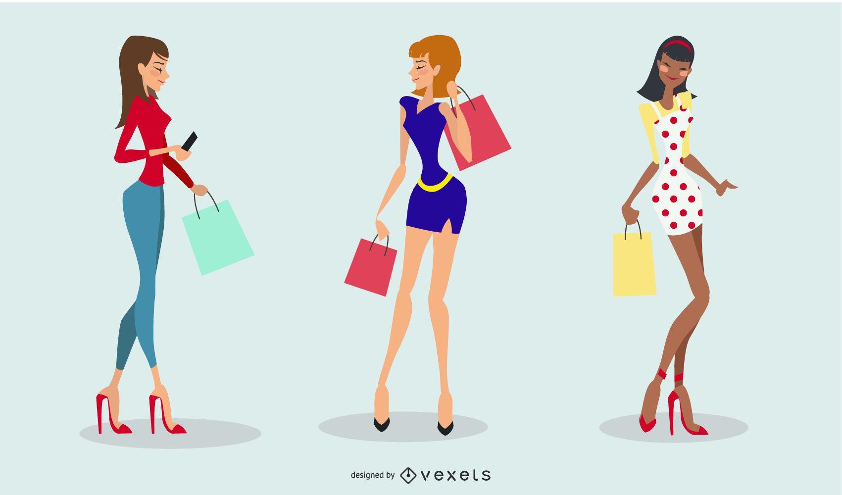 Fashion Shopping Woman Cartoon Set