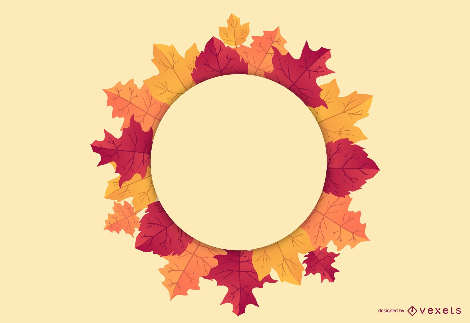 Fall Leaves Round Badge Design
