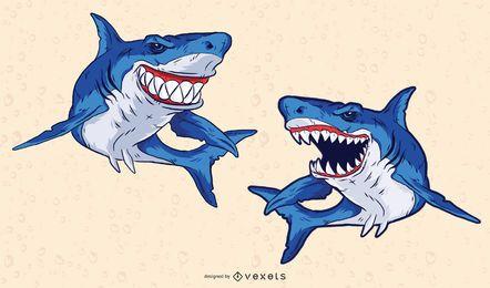 Ilustraciones vectoriales de tiburones gratis