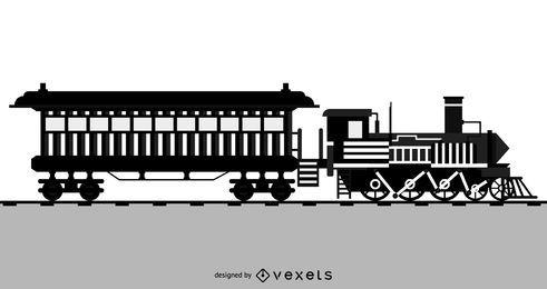 Vetor de locomotiva preto e branco