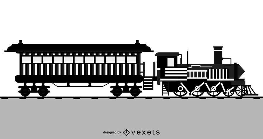 Black And White Locomotive Vector