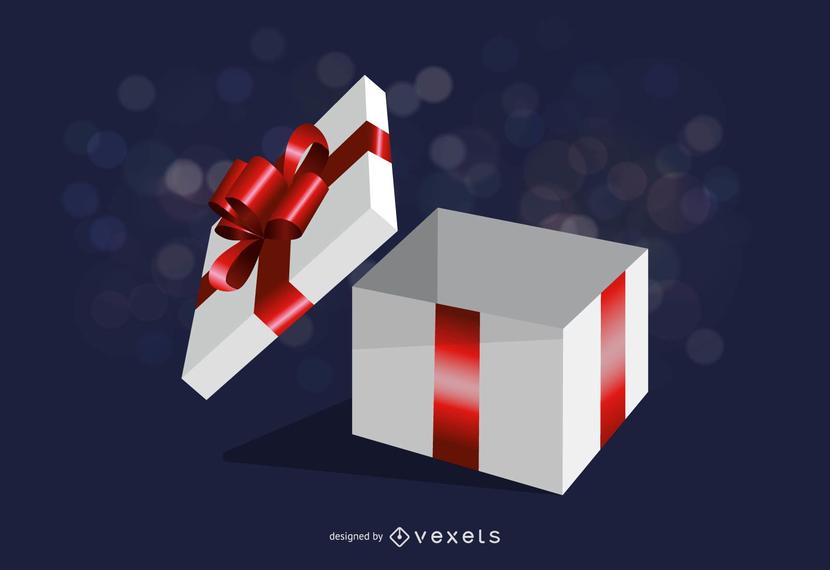 Open gift box illustration