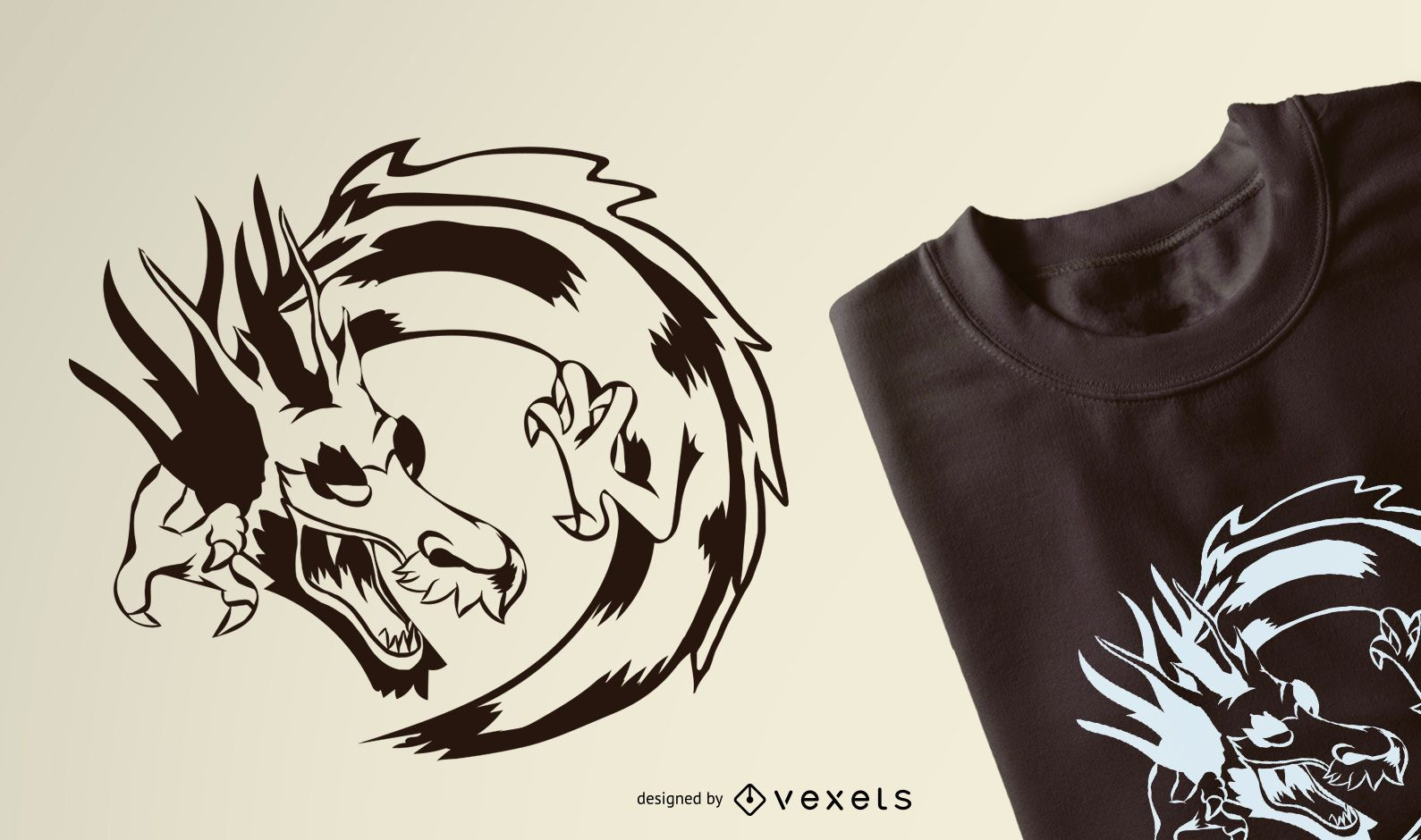 Design gráfico de camisetas do dragão
