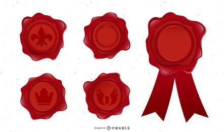 wax seal stamps illustration set