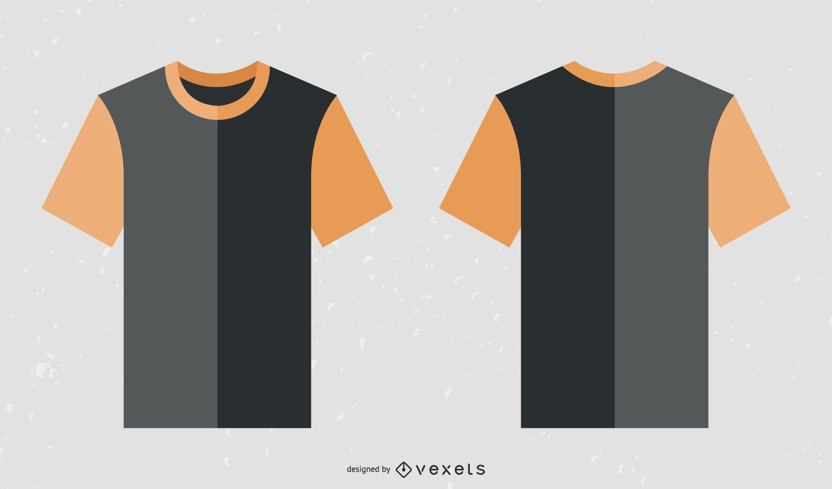 Modelo grátis de camiseta preta com colarinho laranja