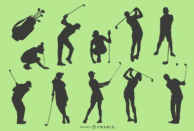 Golf player silhouette set