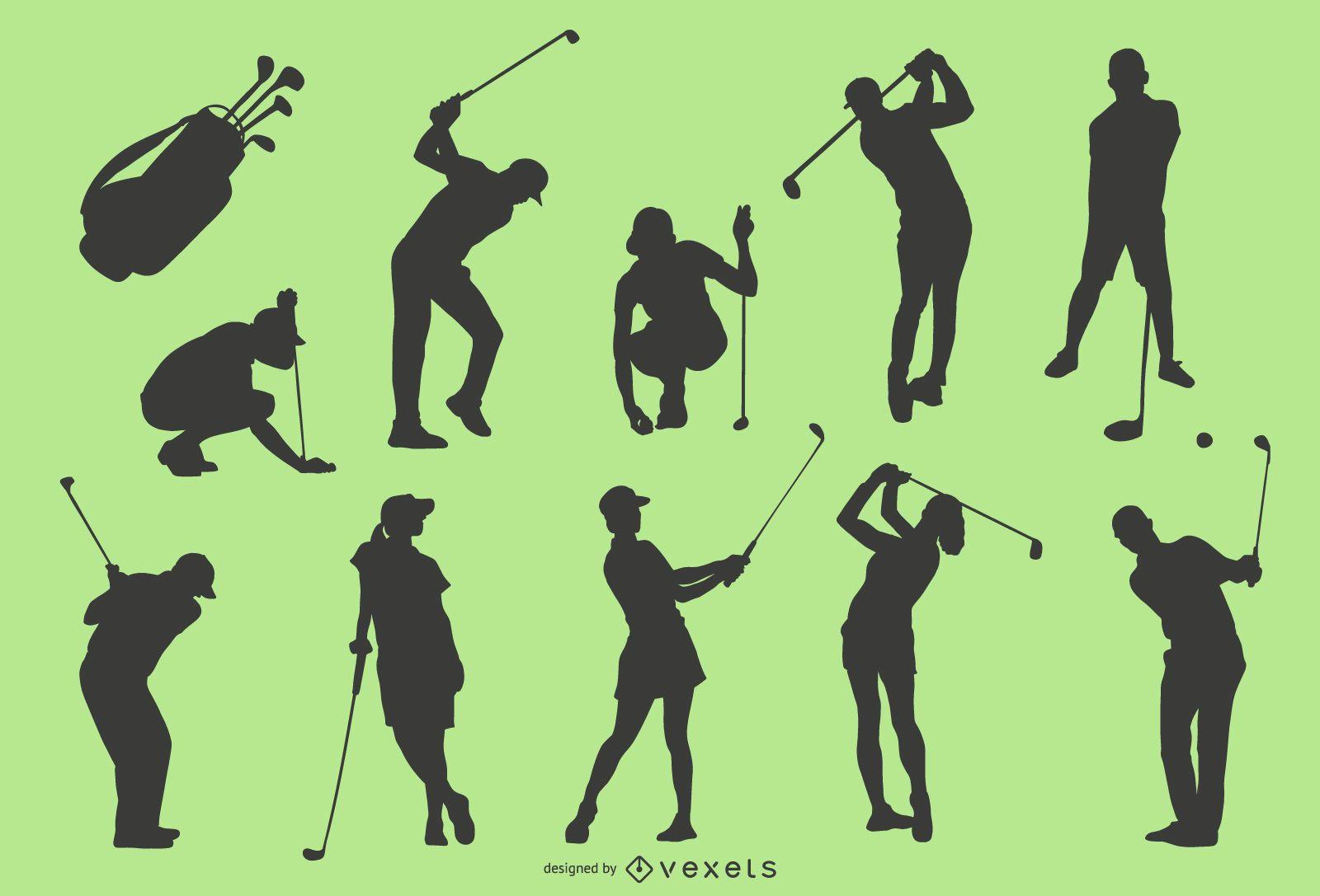 Golf player silhouette set