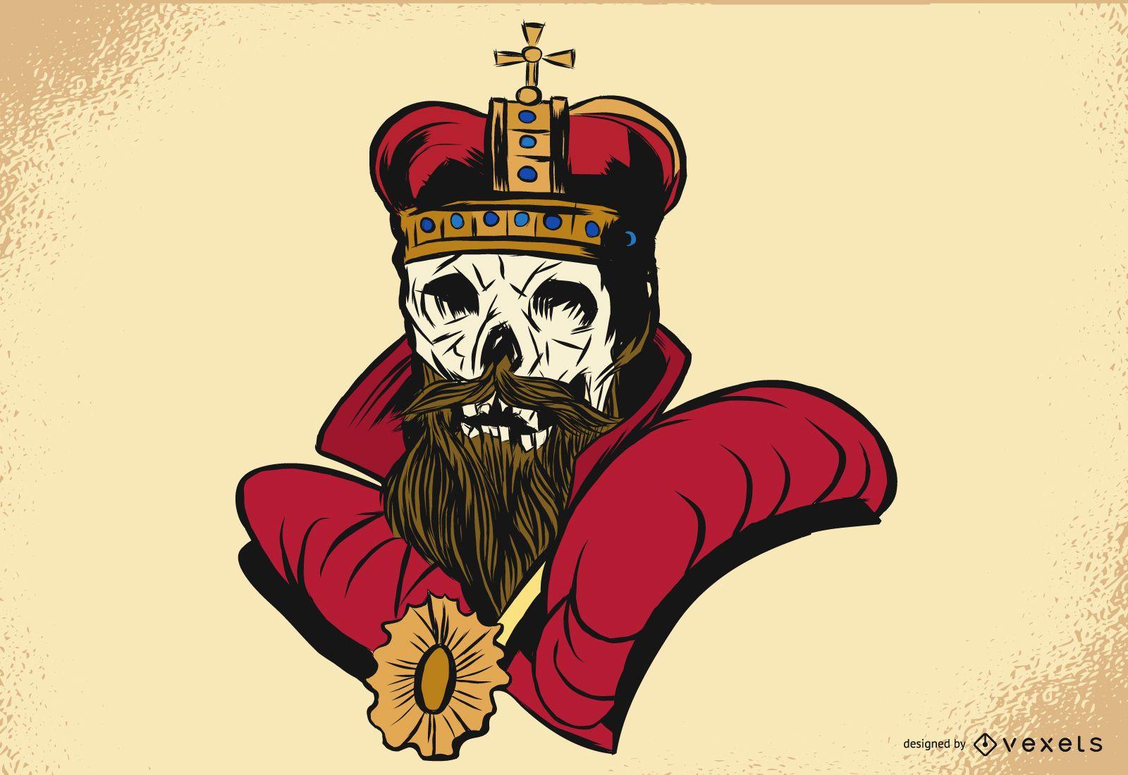 Diseño de ilustración de rey esqueleto