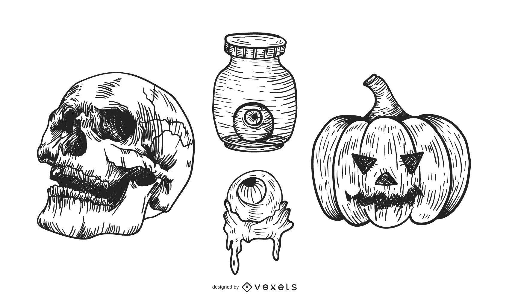Black and white halloween set