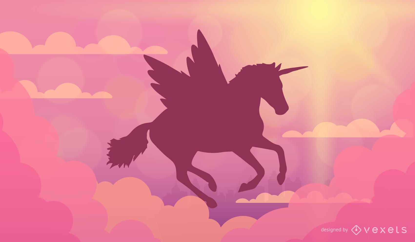 Flying unicorn background