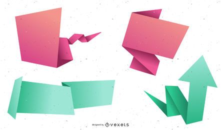 Beautiful Origami Label 01 Vector