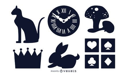 Conjunto de silhuetas de objetos diversos