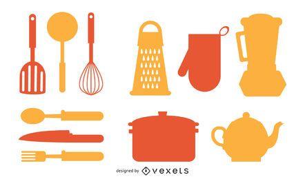 Conjunto de silueta de elementos de cocina