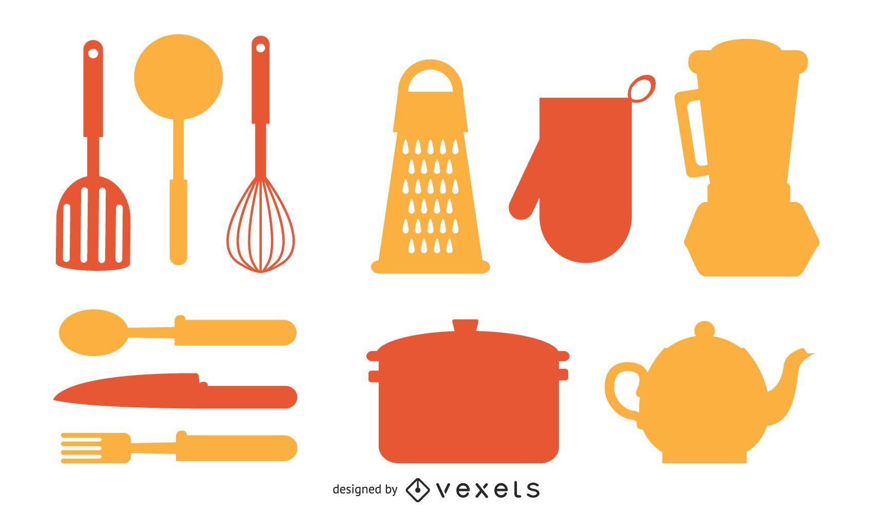 Kitchen elements silhouette set