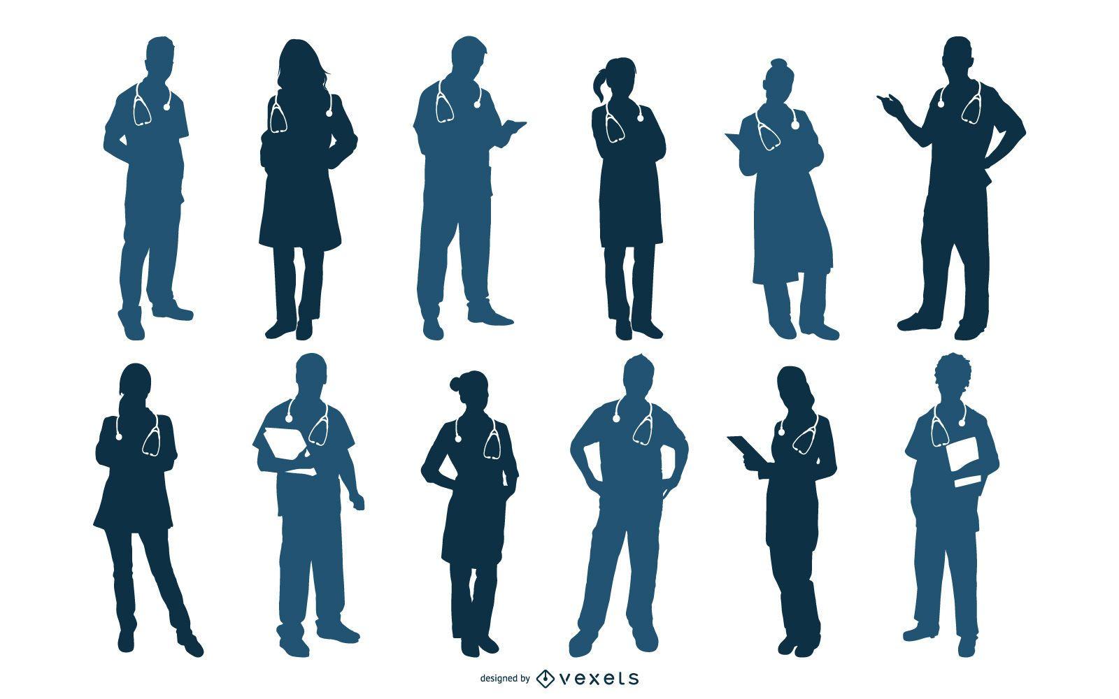 Conjunto de vectores de siluetas médicas