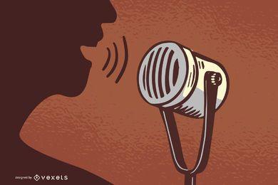 Vintage Mikrofon ClipArt