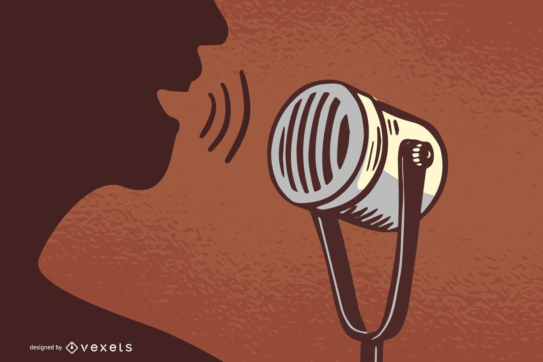 Vintage Microphone clip art
