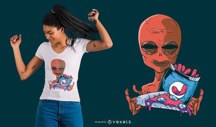 Diseño de camiseta Alien Snacks