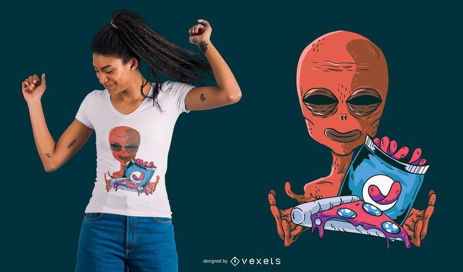 Diseño de camiseta Alien Snacks