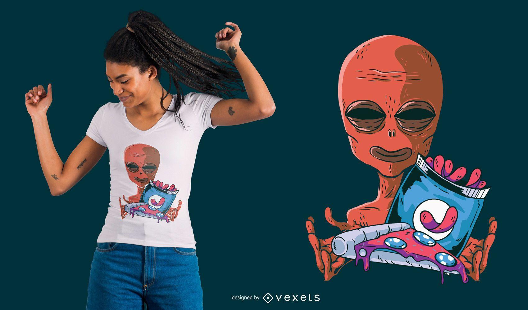 Alien Snacks T-Shirt Design