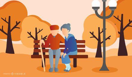 old couple park illustration design
