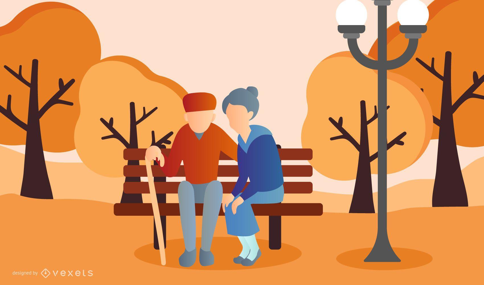 old couple park illustration design