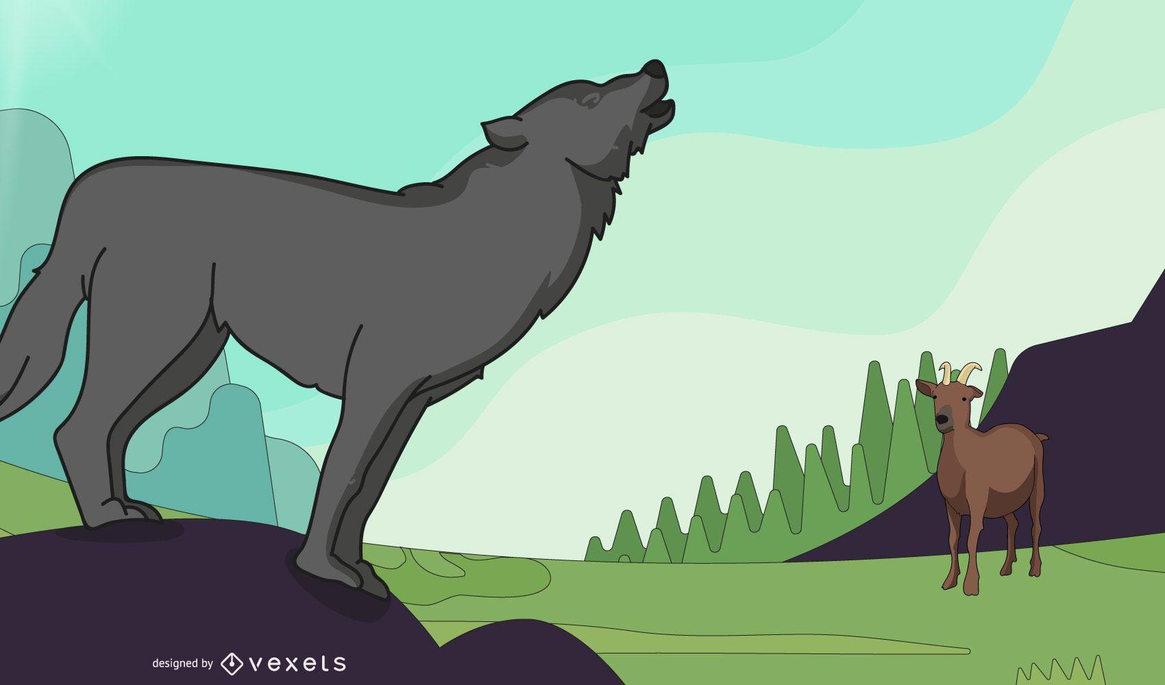 Cabra y gran lobo grande Vector Ai Cdr