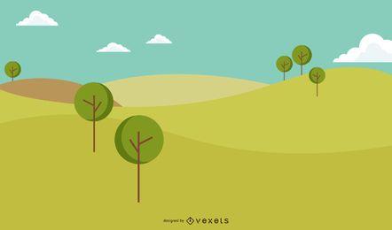 Ilustración de paisaje de campo hermoso