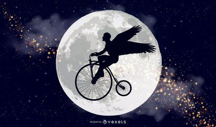 Voar para a lua o canadense bicicleta marca illustrator vector