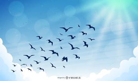 Aves no vetor do céu, vetor de céu azul, vetor de nuvem clara, vetor do pássaro Eps, vetor de céu Eps, vetor de nuvem Eps