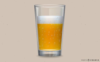 Gráfico de vetor realista de copo de cerveja e bolhas de cerveja