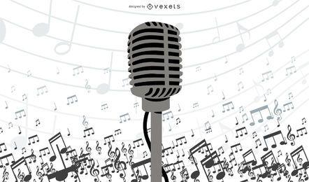 Design de ilustrador de vetor de microfone
