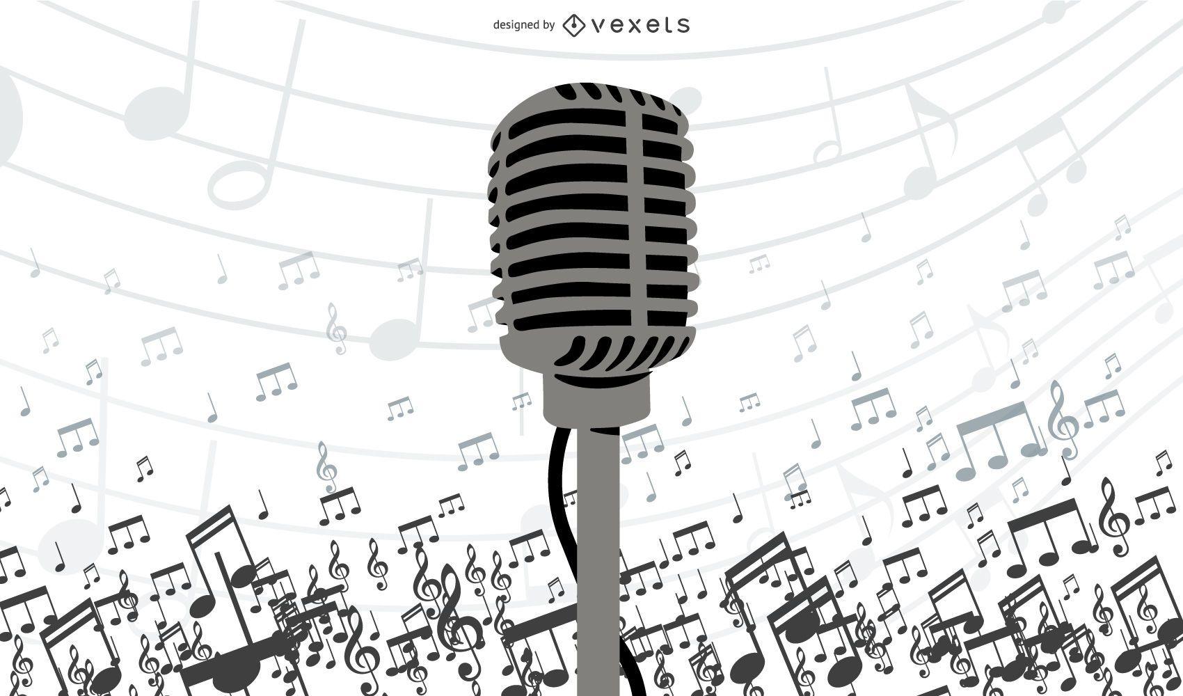 Diseño de ilustrador de vector de micrófono