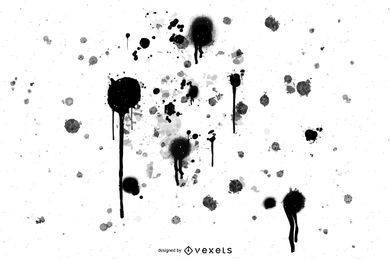 Black isolated ink splatters