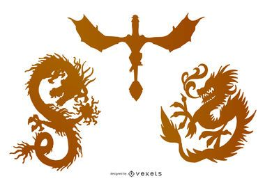 Dragon silhouette illustration collection