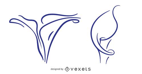 Desenho de traçado de lírio de Calla