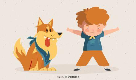 Frecher Junge und Hund