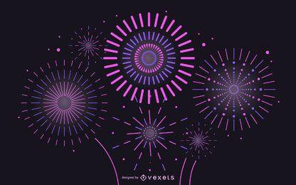 Vector 2 fuegos artificiales brillantes fuegos artificiales