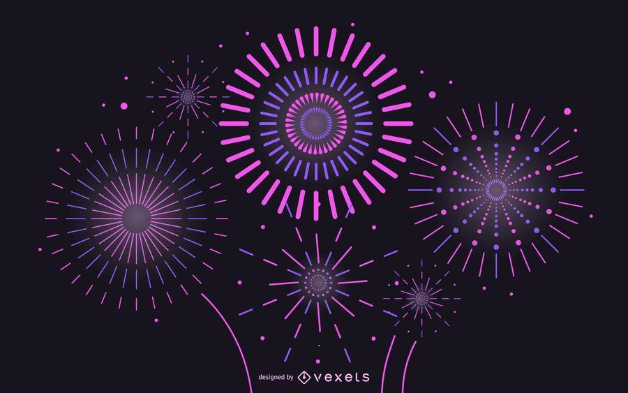 Vector 2 Brilliant Fireworks Fireworks