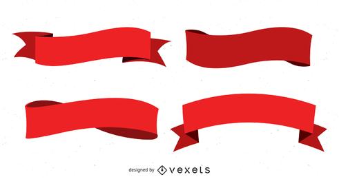 Vários vetores de flâmulas de fita vermelha