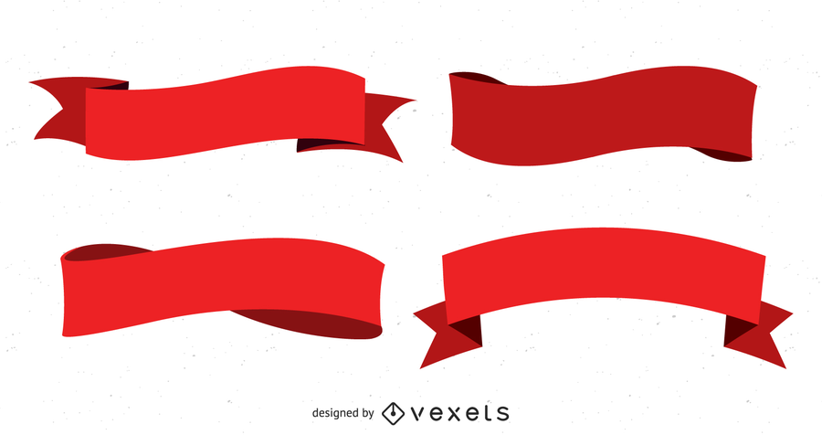 Several Red Ribbon Streamers Vector