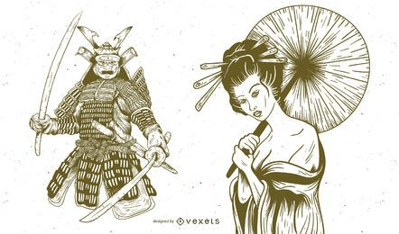 Geisha And Samurai Hand Drawn