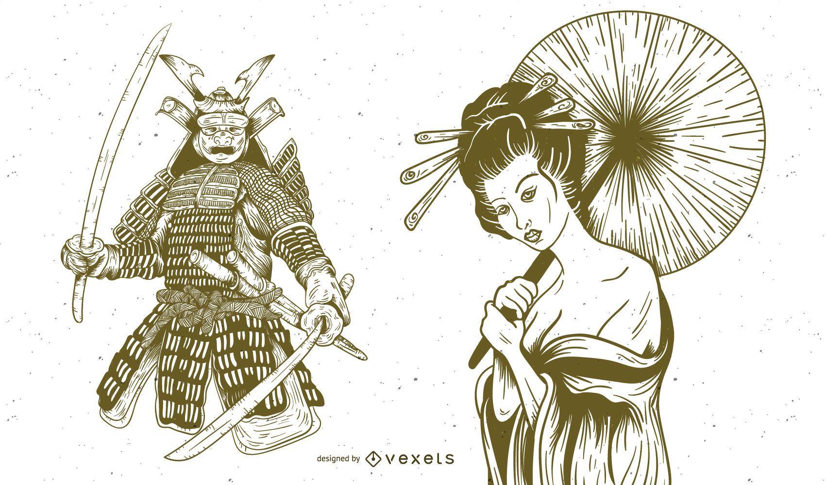 Geisha And Samurai Hand Drawn