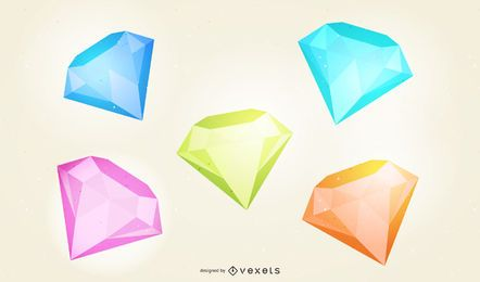 Conjunto de ilustración de diamante 3D