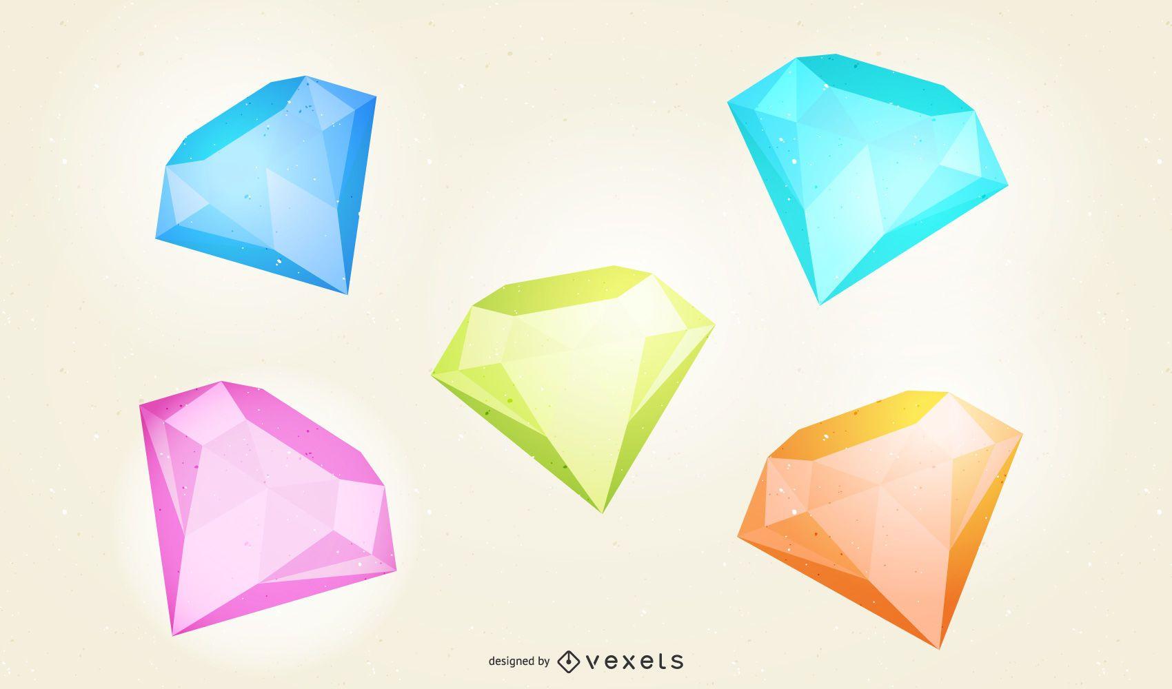 3D diamond illustration set